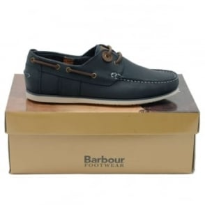 Barbour Capstan Boat Shoe Blue Leather