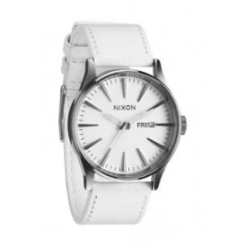 Nixon Sentry Leather Silver White