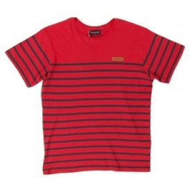 Loreak Mendian Nero Stripe T-Shirt Red Navy
