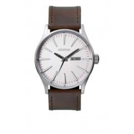 Nixon Sentry Leather Silver Brown