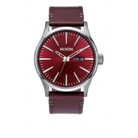 Nixon Sentry Leather Gunmetal Deep Burgandy
