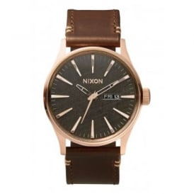 Nixon Sentry Leather Rose Gold Gunmetal Brown
