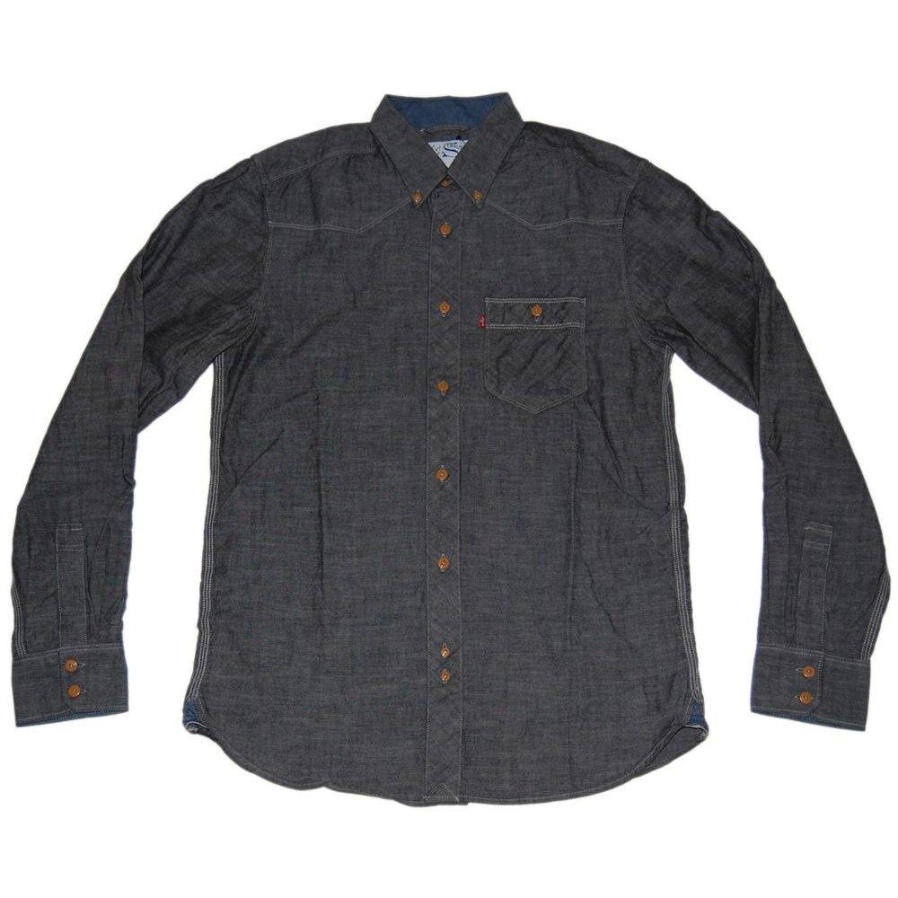 Levi 39 s ls chambray button down shirt black mens shirts for Mens black levi shirt