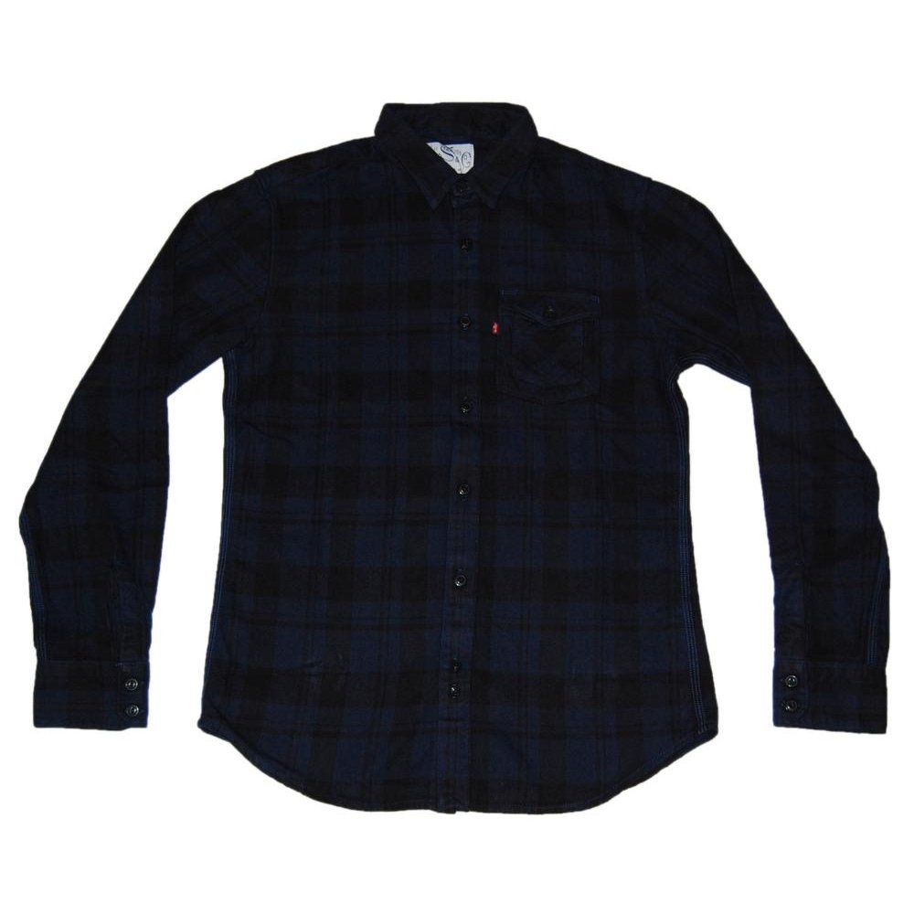 Levi 39 s ls tab collar shirt navy check mens shirts from for Mens tab collar dress shirts
