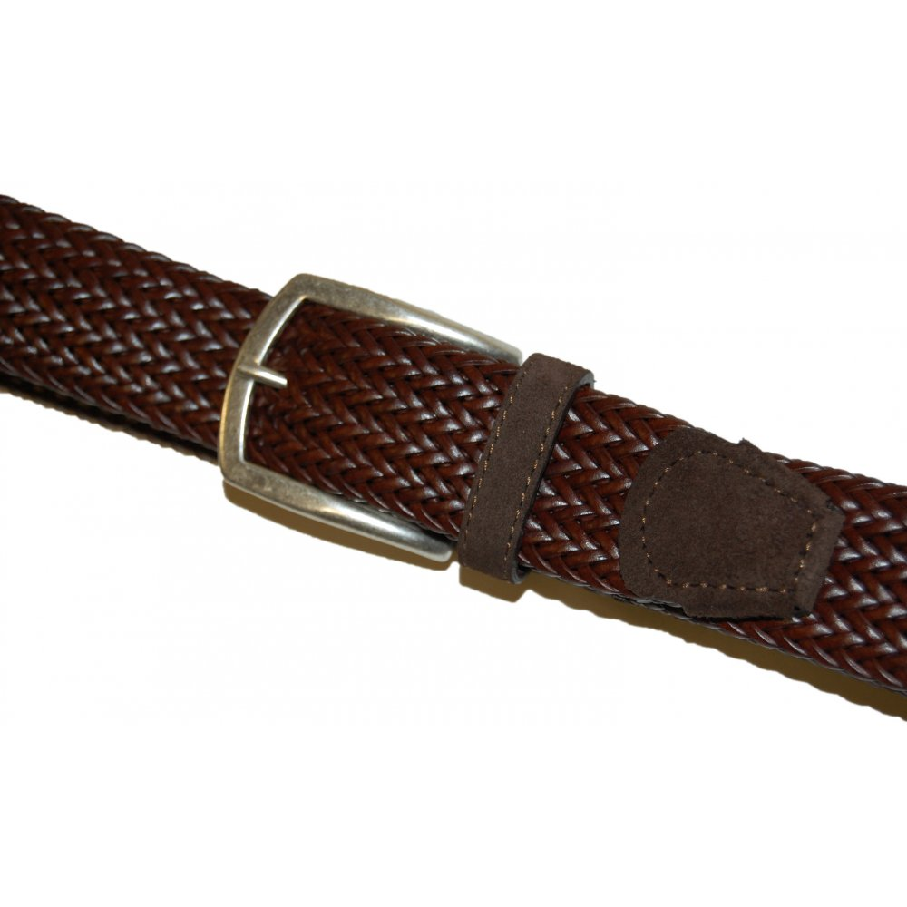 s brown leather woven suede tip belt mens