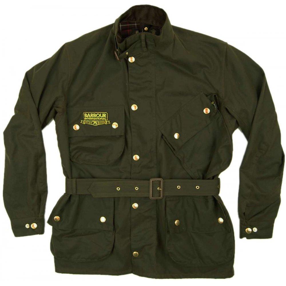 barbour international 75th jacket olive mens jackets from attic clothing uk. Black Bedroom Furniture Sets. Home Design Ideas
