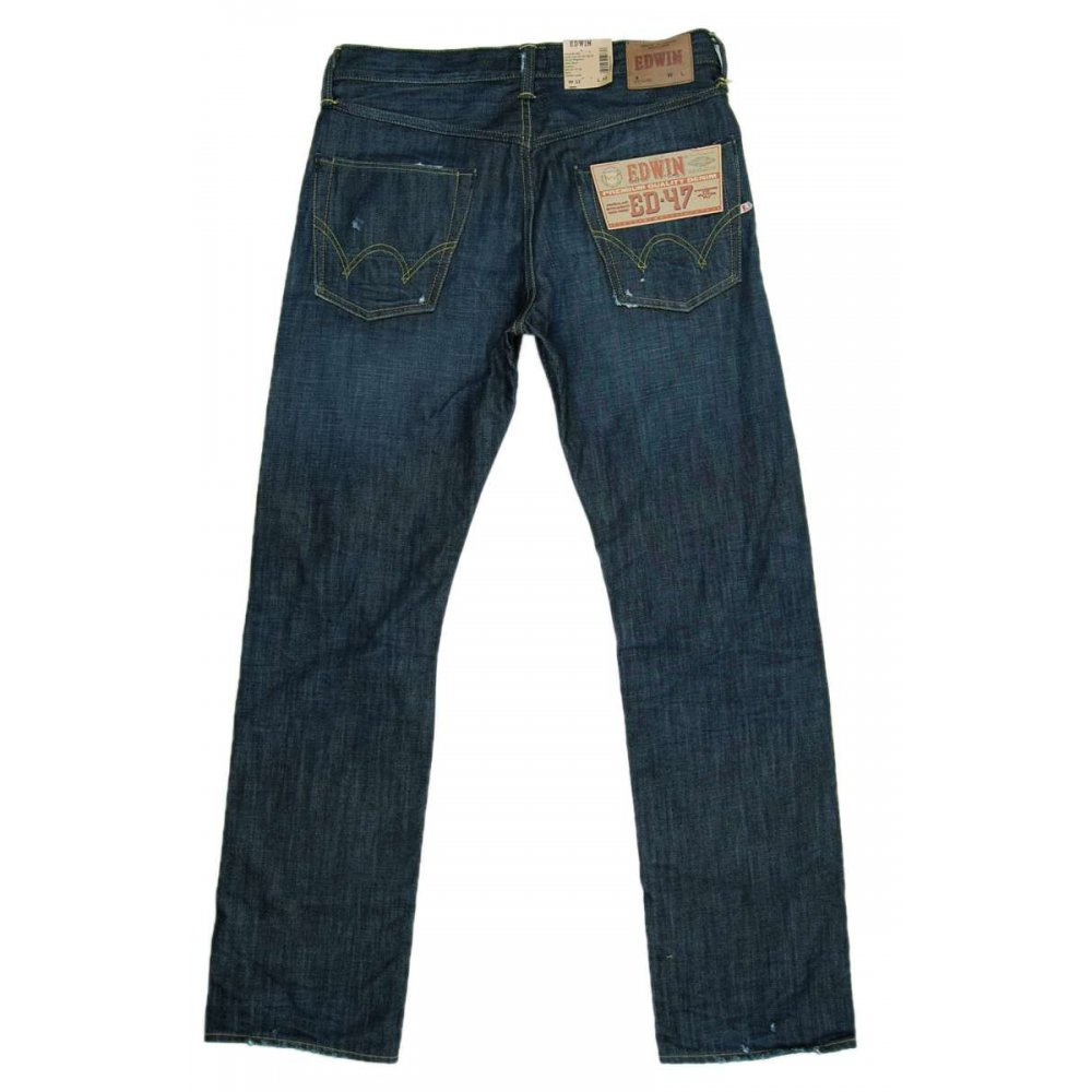edwin ed47 jeans dark blue ozone mens jeans from attic