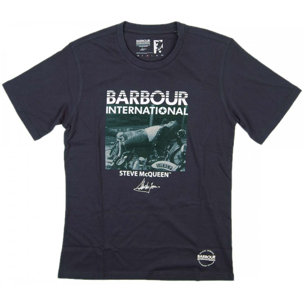 barbour steve mcqueen e zee t shirt navy mens t shirts from attic clothing uk. Black Bedroom Furniture Sets. Home Design Ideas