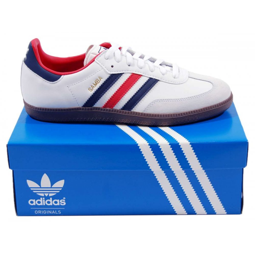 red and white adidas samba