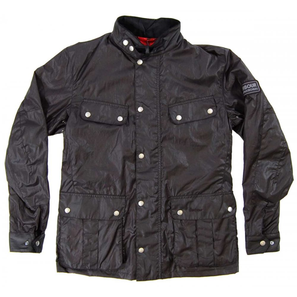barbour enfield wax jacket black mens jackets from attic clothing uk. Black Bedroom Furniture Sets. Home Design Ideas