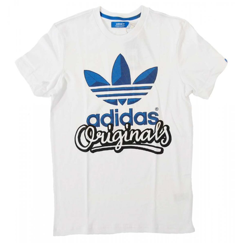 adidas originals script t shirt white mens t shirts from attic clothing uk. Black Bedroom Furniture Sets. Home Design Ideas