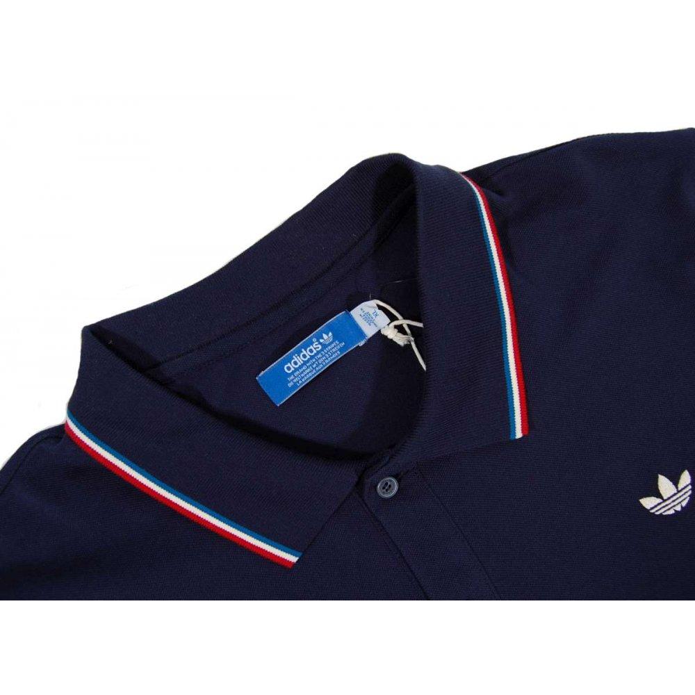 Adidas Originals Tipped Polo Shirt Navy Mens Polos From