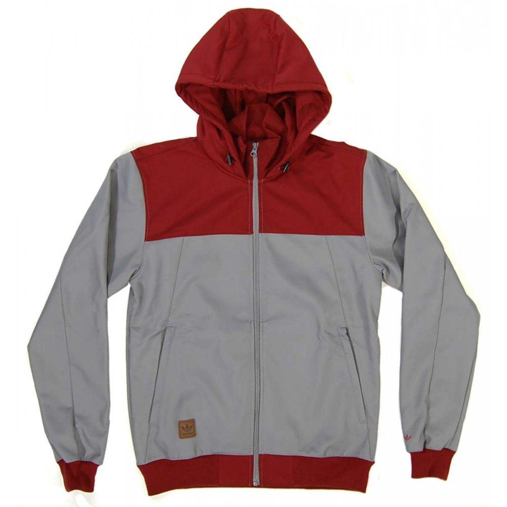 Adidas Originals Hib Snow Hoody Jacket Tech Grey Mars Red - Mens Jackets From Attic Clothing UK