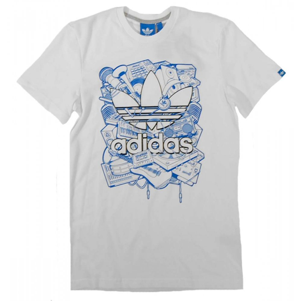 Adidas originals music trefoil t shirt white mens t for Adidas lotus t shirt