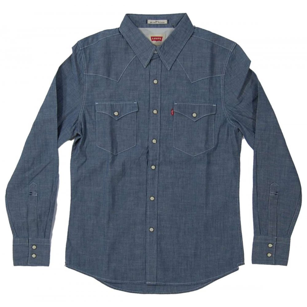 Levi 39 S Barstow Western Shirt Blue Chambray Mens Shirts