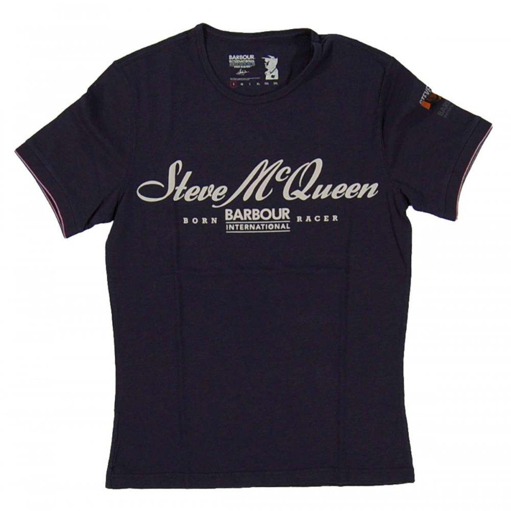barbour steve mcqueen born racer t shirt navy mens t. Black Bedroom Furniture Sets. Home Design Ideas