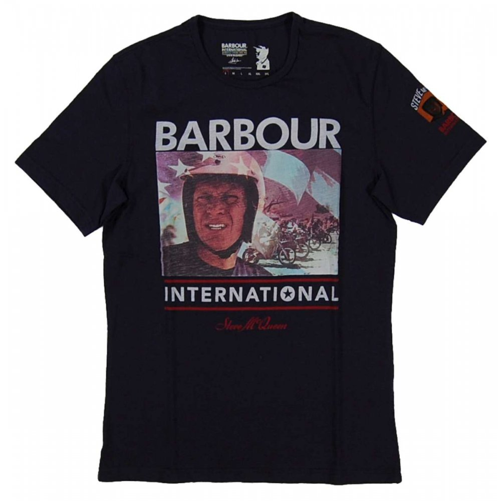 barbour steve mcqueen racer t shirt navy mens t shirts from attic clothing uk. Black Bedroom Furniture Sets. Home Design Ideas