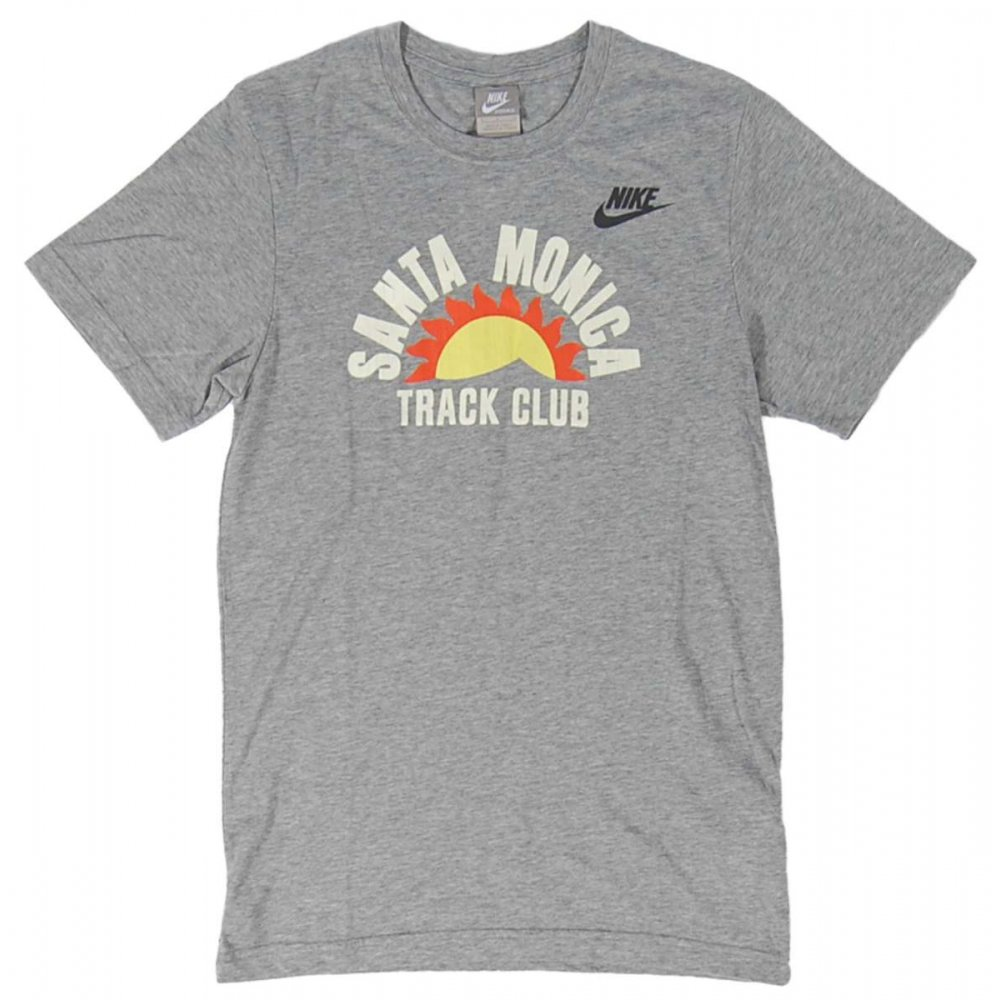 Nike ru santa monica track club t shirt grey heather for T shirts for clubs