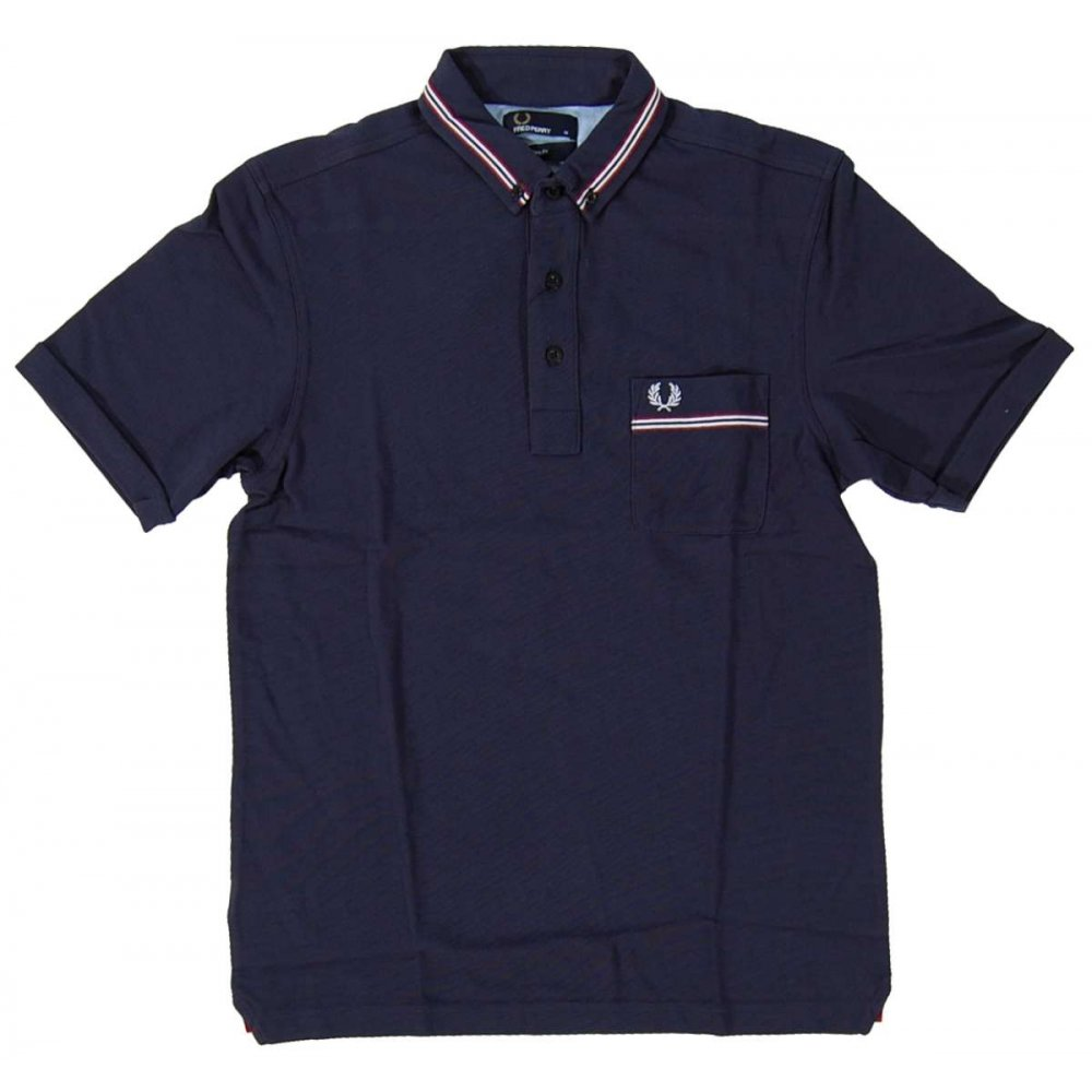 fred perry m9326 grosgrain polo carbon mens polos