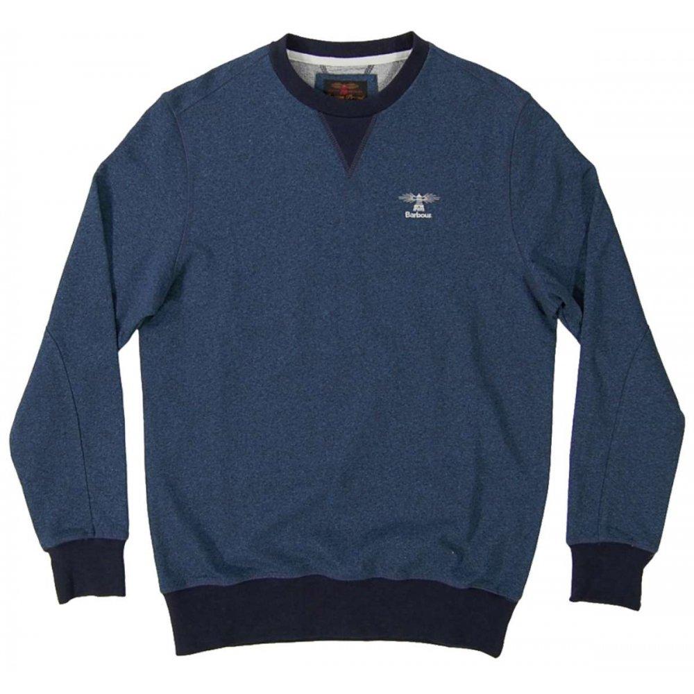 barbour heritage crew sweatshirt navy mens sweats and