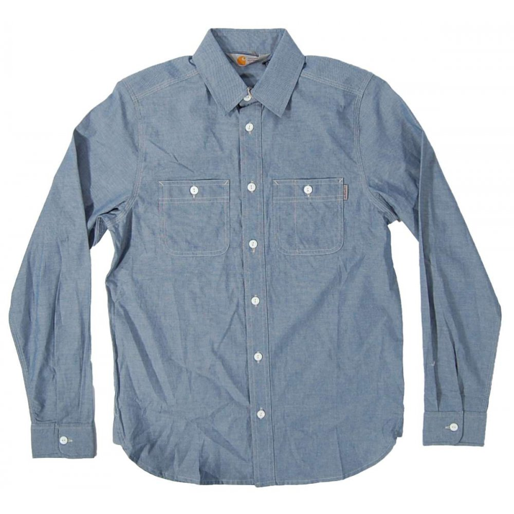 carhartt clink shirt chambray blue rigid mens shirts