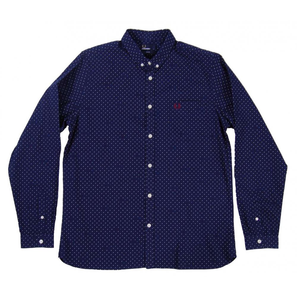 fred perry m3281 polka dot shirt carbon mens shirts
