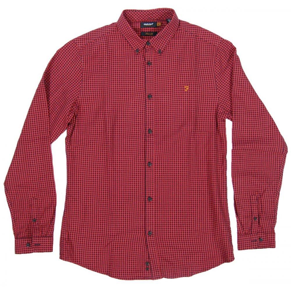Farah Vintage Manor Check Shirt Burnt Orange Mens Shirts