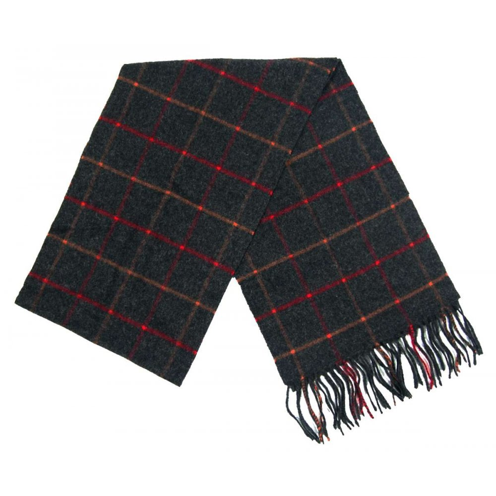 barbour tattersall lambswool scarf charcoal mens