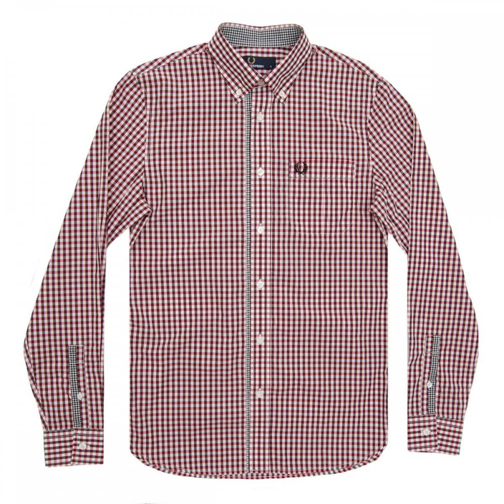 Fred perry m6394 three colour gingham shirt red mens for Fred perry mens shirts sale