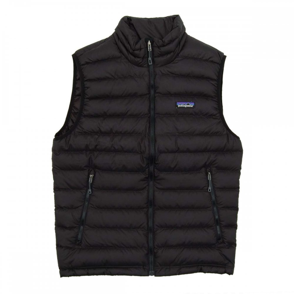 Patagonia down sweater vest black mens jackets from for Patagonia men s recycled down shirt jacket