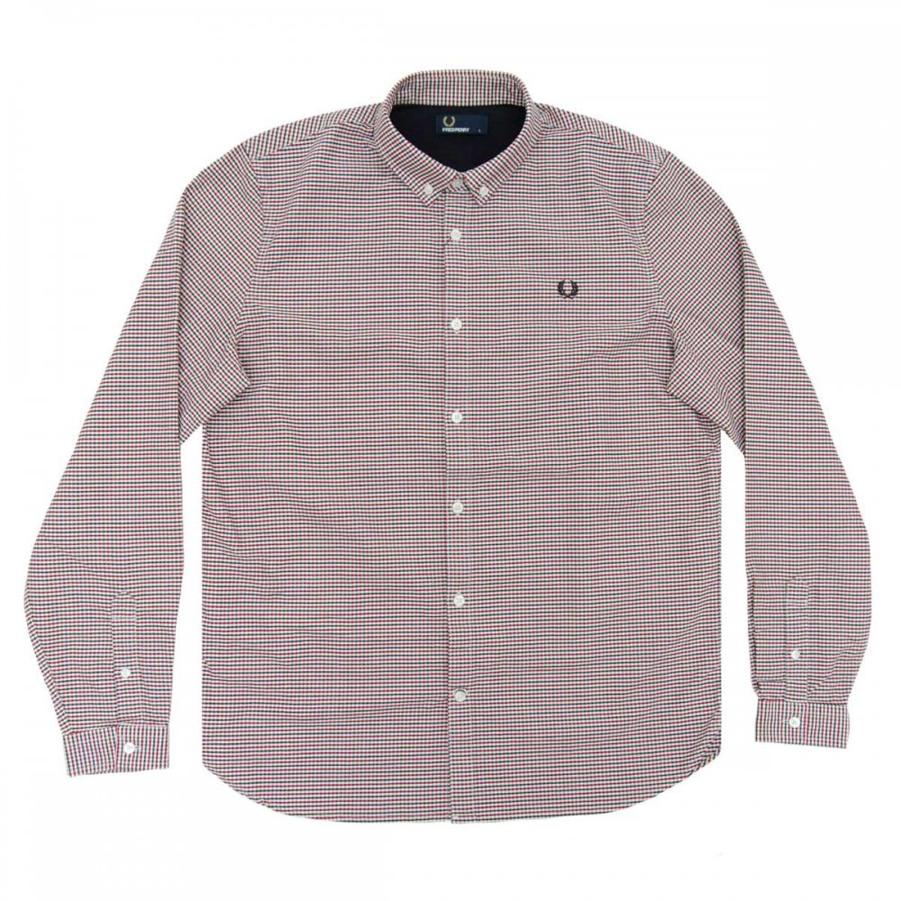 fred perry m7295 3 colour oxford gingham shirt carbon