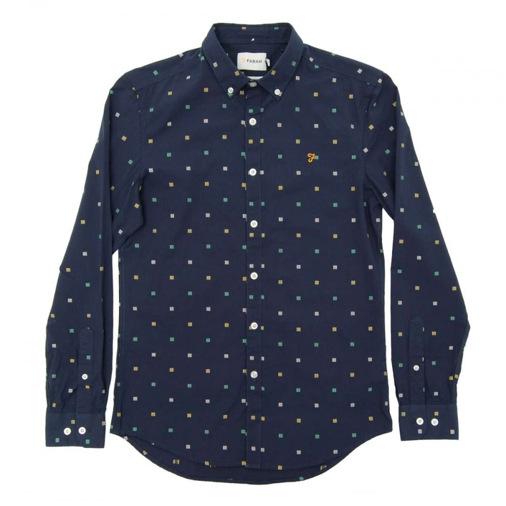 Farah Heasman Pattern Shirt Ink Blue Mens Shirts From