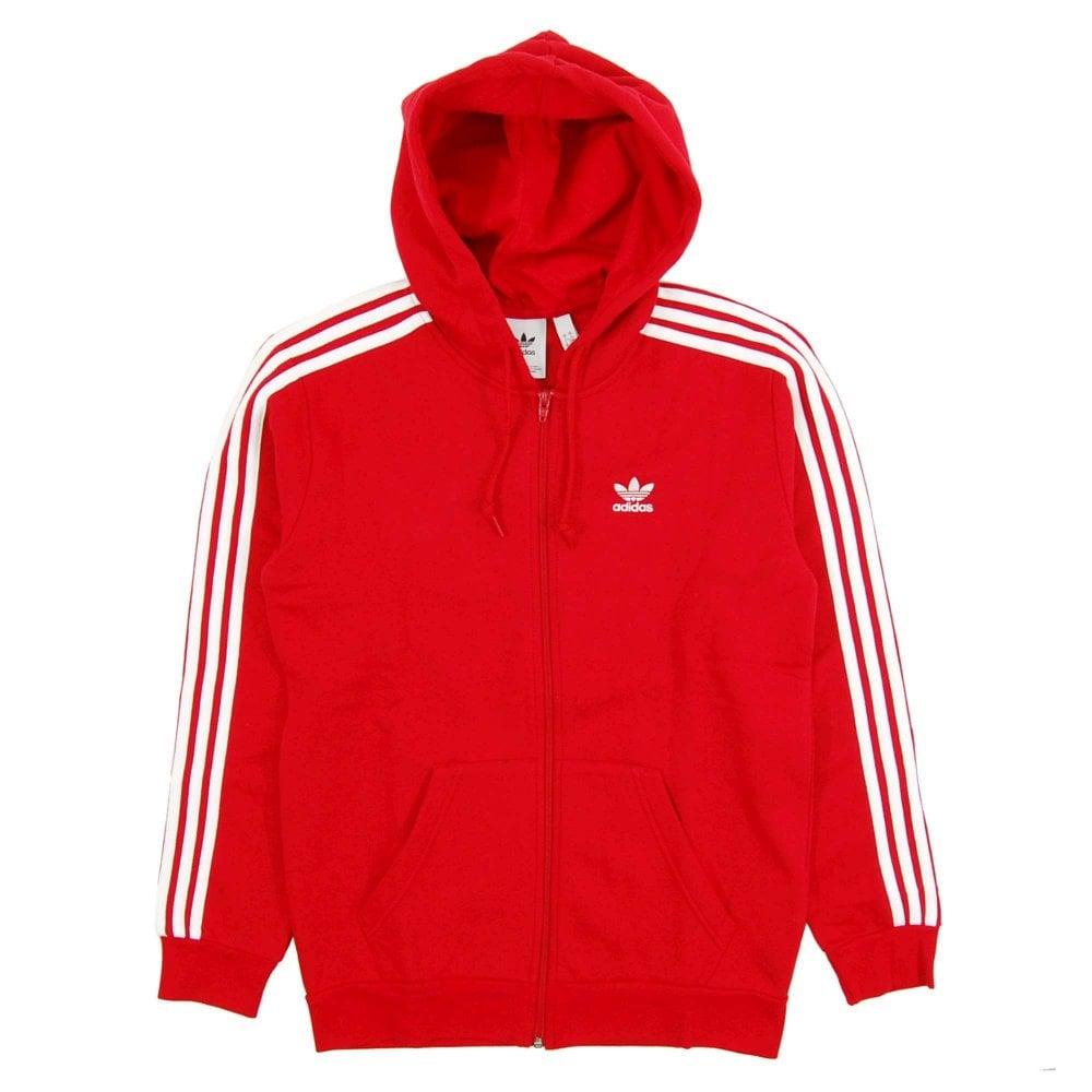 adidas originals red zip hoodie