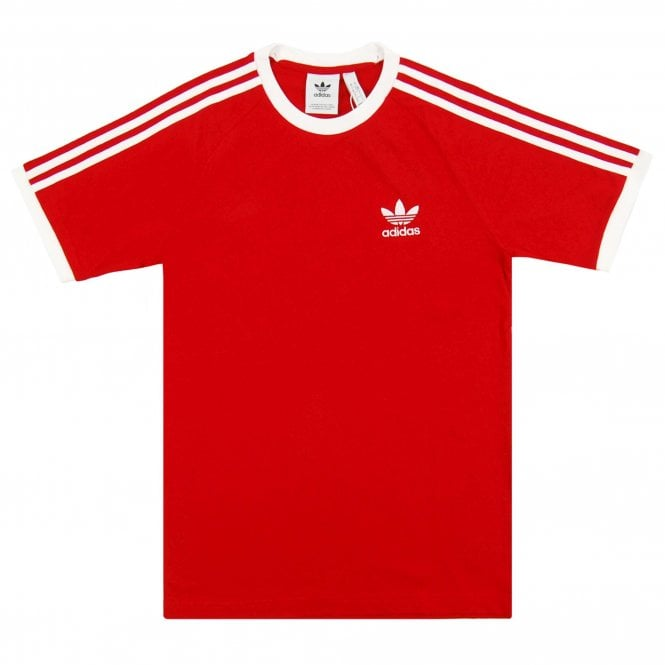 Adidas Originals 3 Stripes T Shirt Power Red White