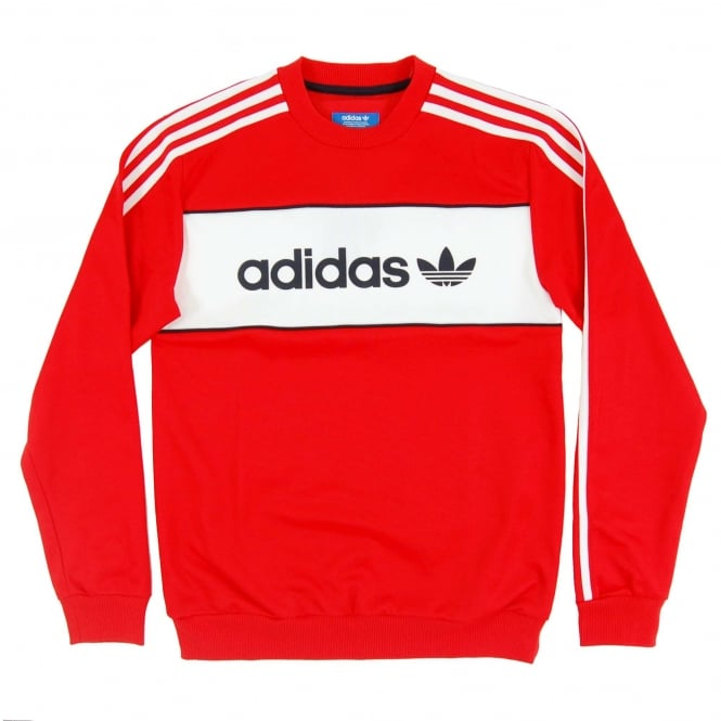 Adidas Originals Block Crew Sweat Core Red