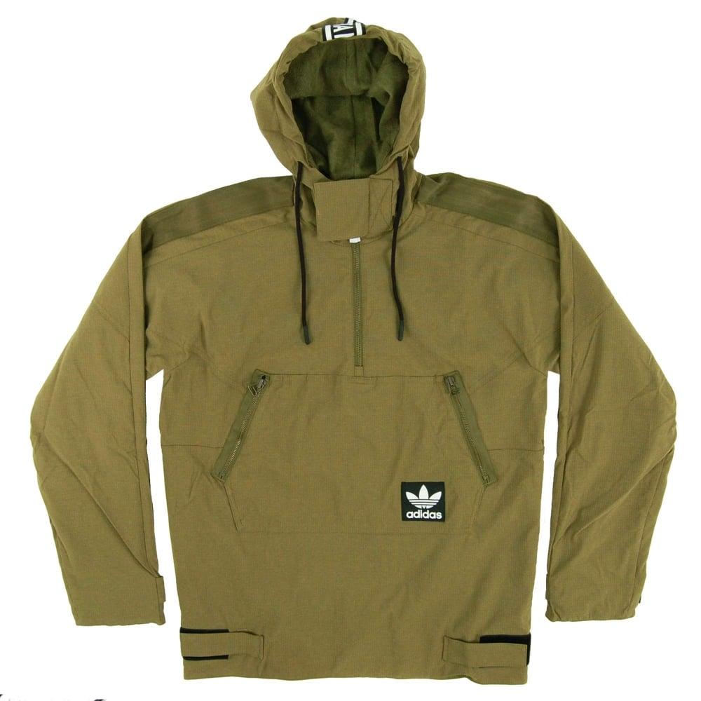 Adidas Originals Brand Windbreaker Jacket Olive Cargo - Mens Clothing From Attic Clothing UK
