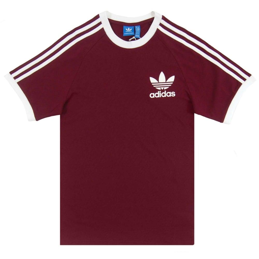01cf90f96 Adidas Originals California T-Shirt Maroon White - Mens Clothing ...