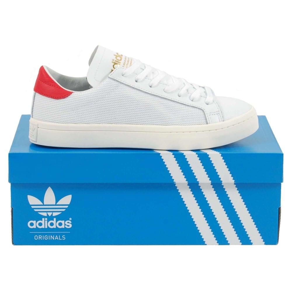 adidas originali corte vantage calzature abbigliamento bianco - rosso mens