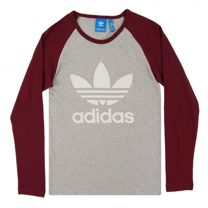 Adidas Originals Essential LS Top Medium Grey Heather Maroon