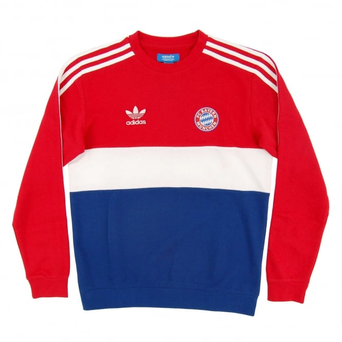 Adidas Originals FC Bayern Munchen Crew Sweatshirt Red Hero Ink White