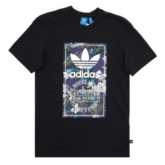 shirt Zwart Adidas Label Floral Originals T MzVpSU