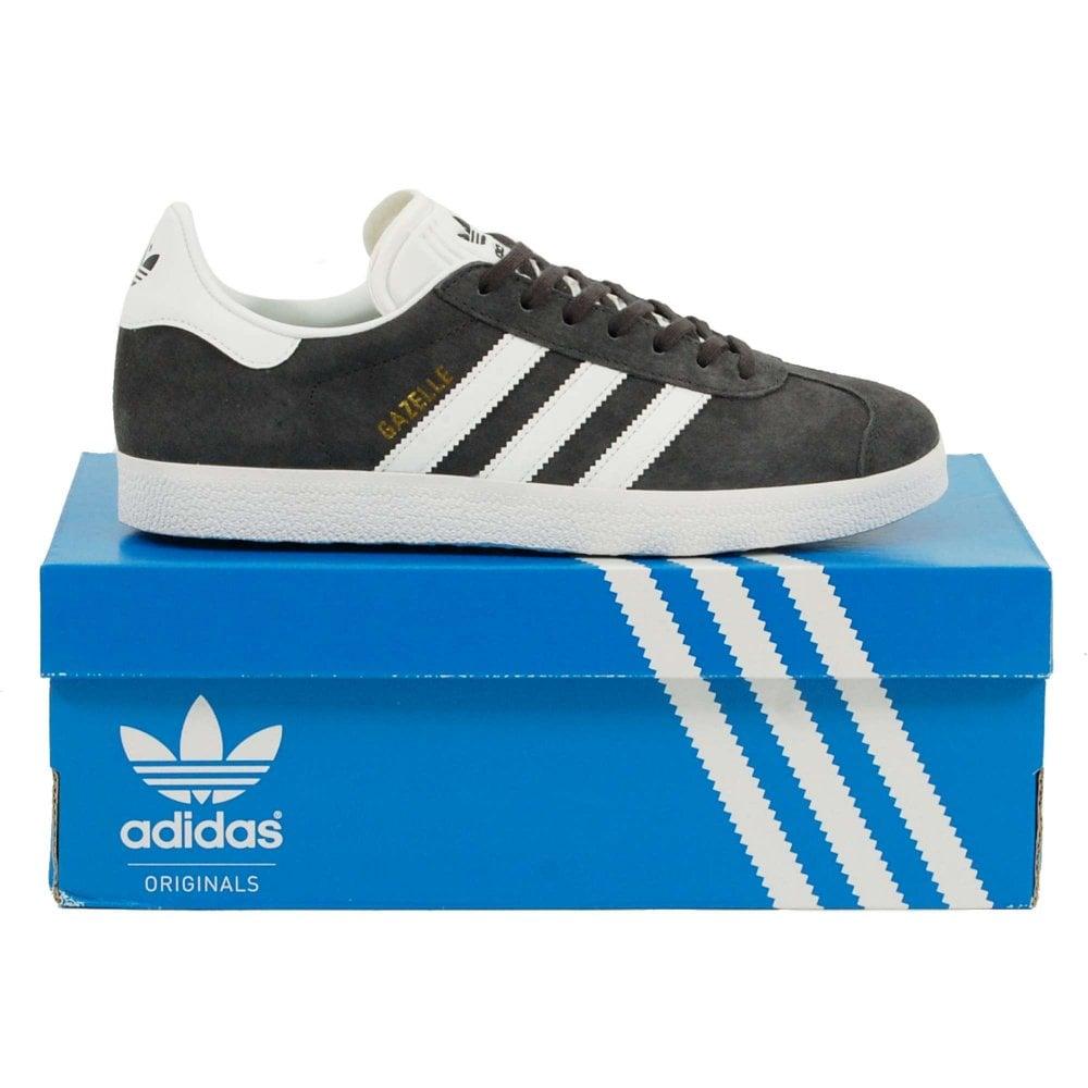 73db7b4a353 Adidas Originals Gazelle Dark Grey Heather White Gold Metallic ...