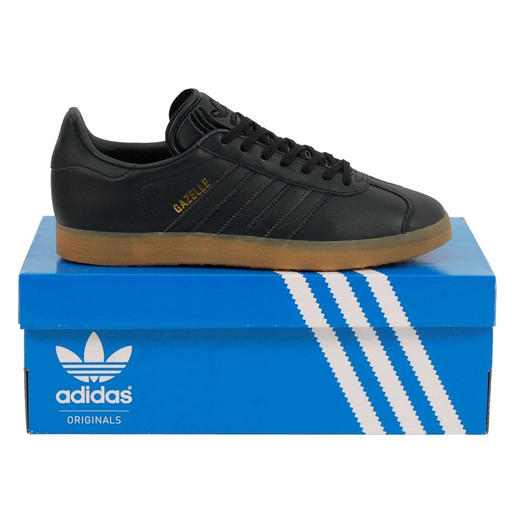 3afe39ce4b14 Adidas Originals Gazelle Leather Core Black Gum - Mens Clothing from ...