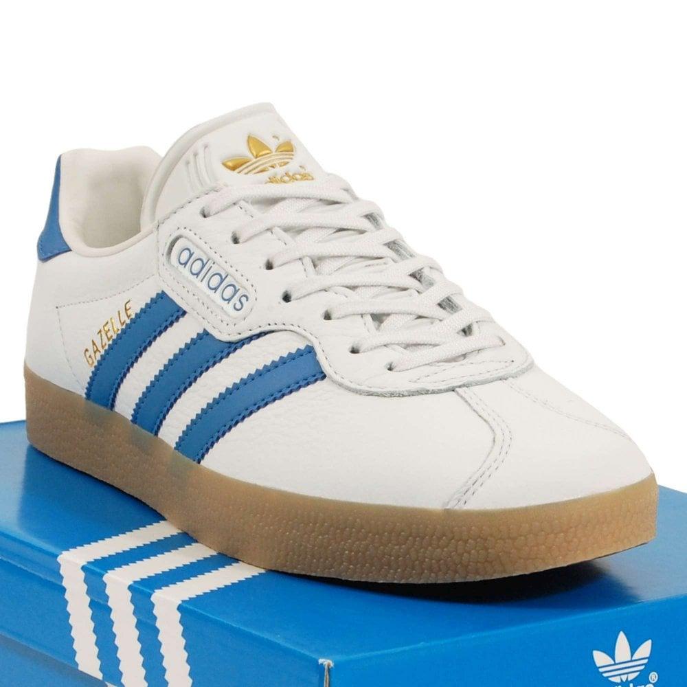 buy online 86c2f 5b700 Adidas Originals Gazelle Super Crystal White Trace Blue Gum - Mens ...