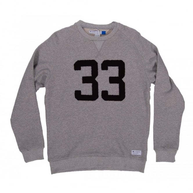 Adidas Originals Graphic Crew Neck Sweatshirt Med Grey Heather