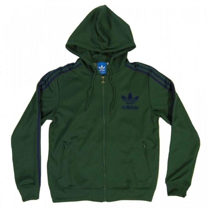 0c189de429 Adidas Originals Hooded Flock Track Top Dark Green - Mens Clothing ...