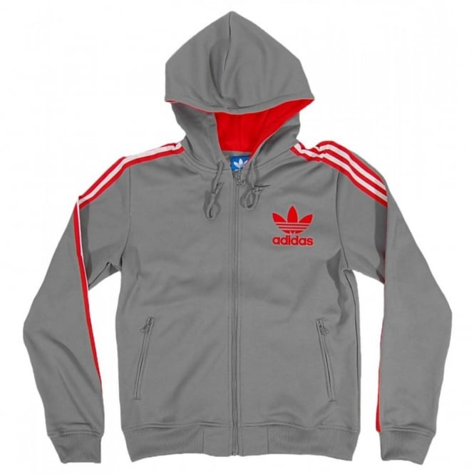 34f7db6327 Adidas Originals Hooded Flock Track Top Tech Grey - Mens Clothing ...