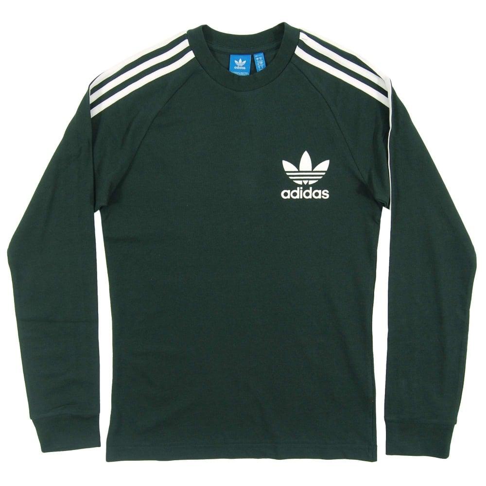 7118cbb7e6d Adidas Originals LS Pique T-Shirt Green Night White - Mens Clothing ...