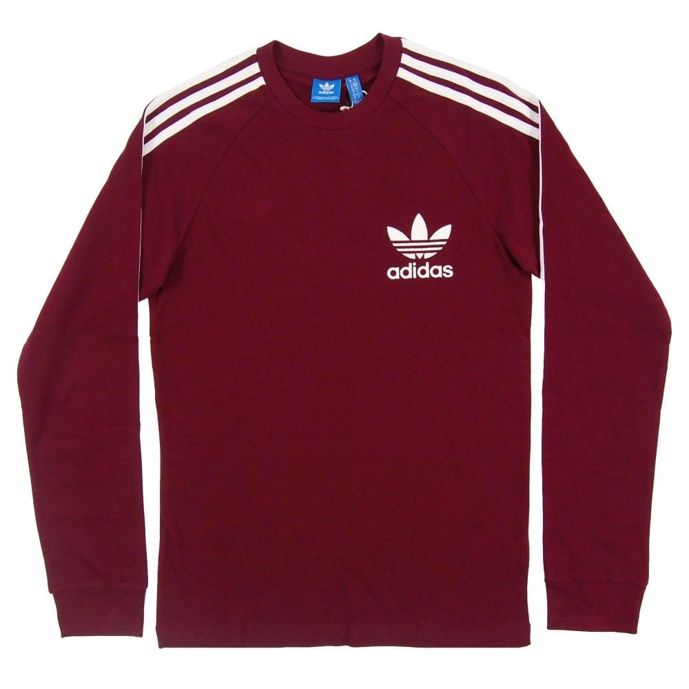 de0d53a78 Adidas Originals LS Pique T-Shirt Maroon White - Mens Clothing from ...