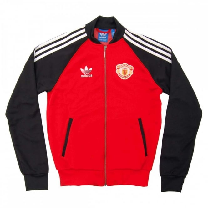 38eef65bb8 Adidas Originals Man Utd Superstar Track Top Red Black - Mens ...